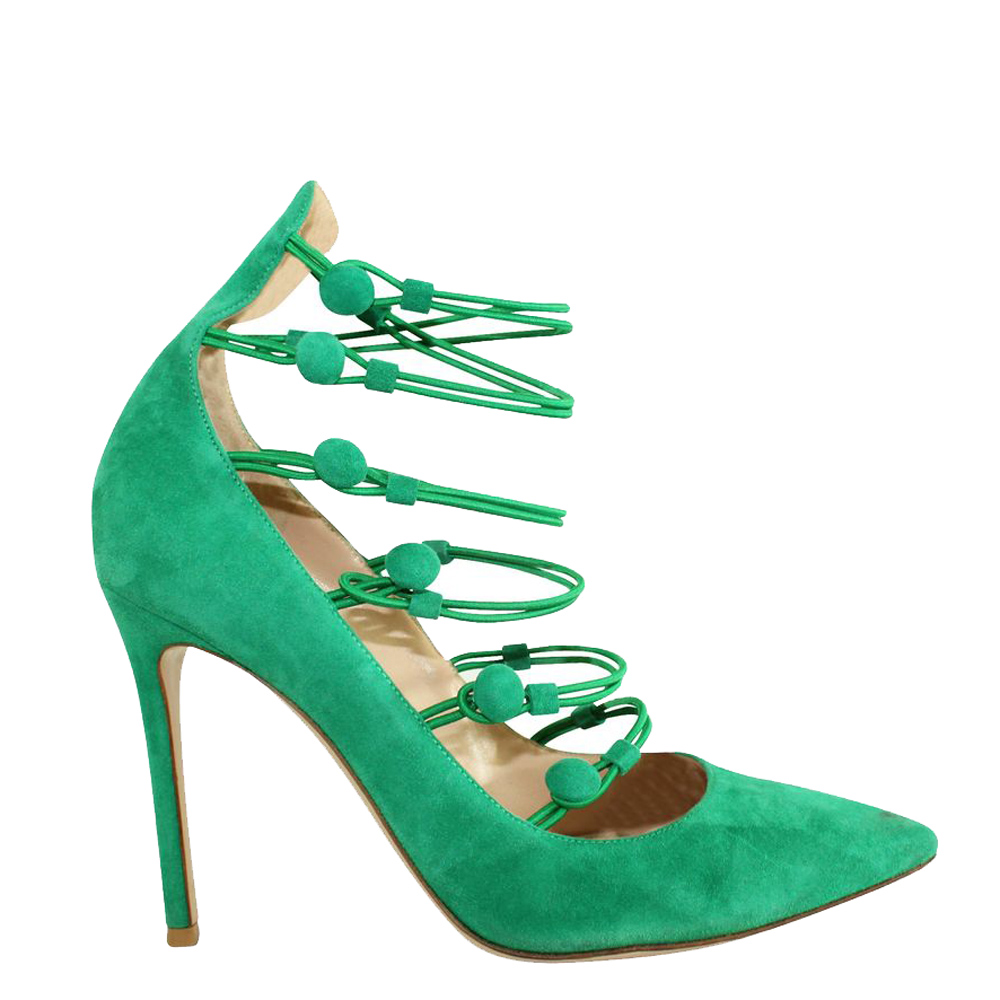 Pre-owned Gianvito Rossi Suede Button Strap Pumps In Green