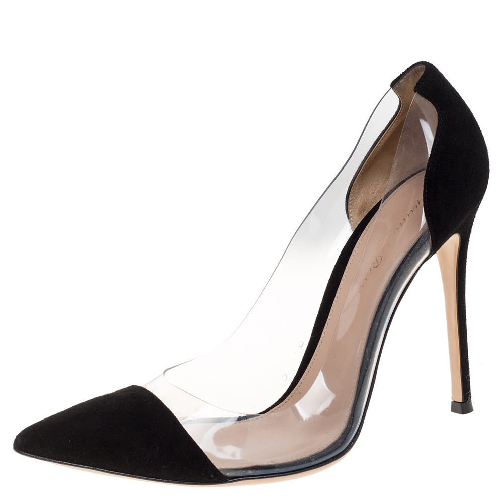 Pre-owned Gianvito Rossi Black Suede And Pvc Plexi Pointed Toe Pumps Size 39