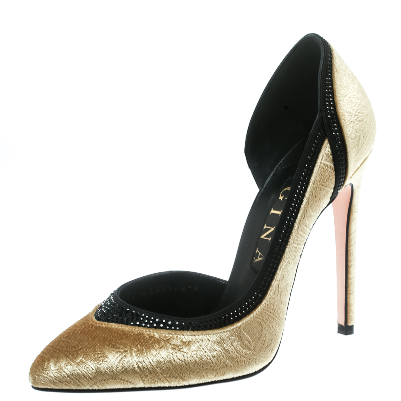 22ff78618 Buy Gina Gold Paisley Print Velvet Crystal Studded D orsay Pointed ...