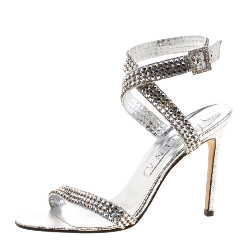 652a0946302 Buy Gina Metallic Silver Crystal Embellished Ankle Strap Sandals ...