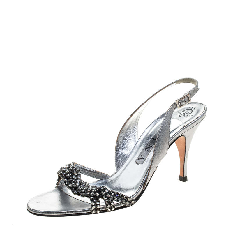 18dd6260c25ae Gina Metallic Silver Leather Crystal Embellished Slingback Sandals Size 38.5