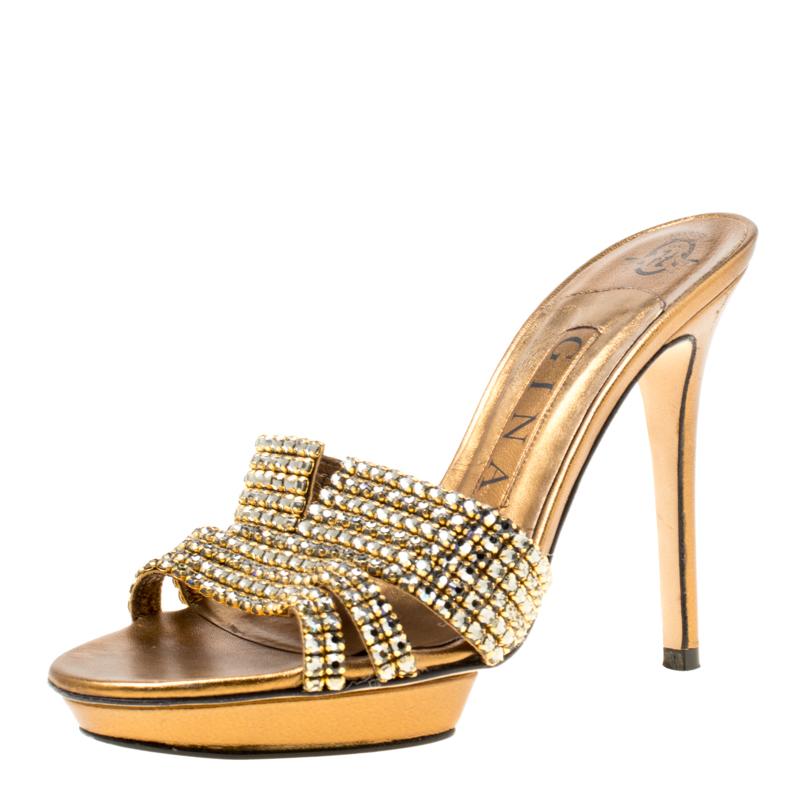 1d69461f2 ... Gina Bronze Crystal Embellished Leather Platform Sandals Size 37.  nextprev. prevnext