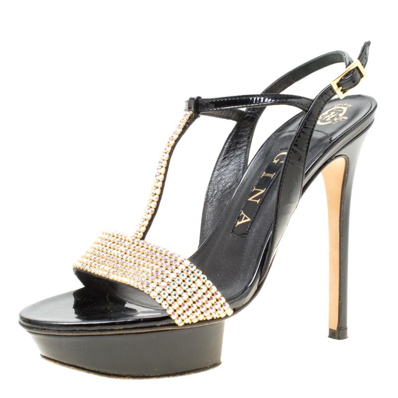 b6b3ce5da70 ... Gina Black Patent Leather Crystal Embellished Platform Sandals Size 37.  nextprev. prevnext