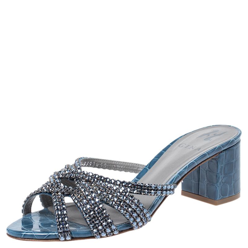 Gina Blue Crystal Embellished Croc Embossed Patent Leather Rodeo Block Heel Slides Size 38.5