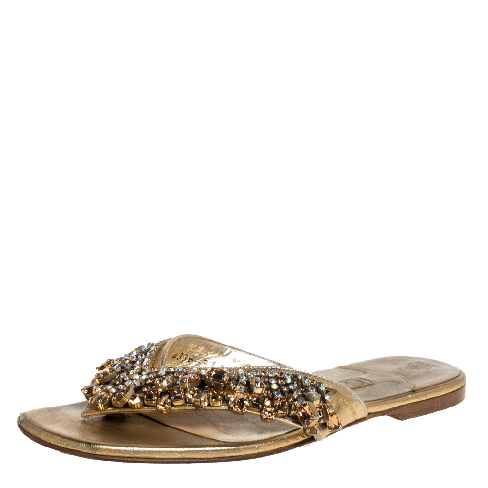 Pre-owned Gina Gold Crystal Drop Embellished Leather Thong Flats Size 36 In Metallic