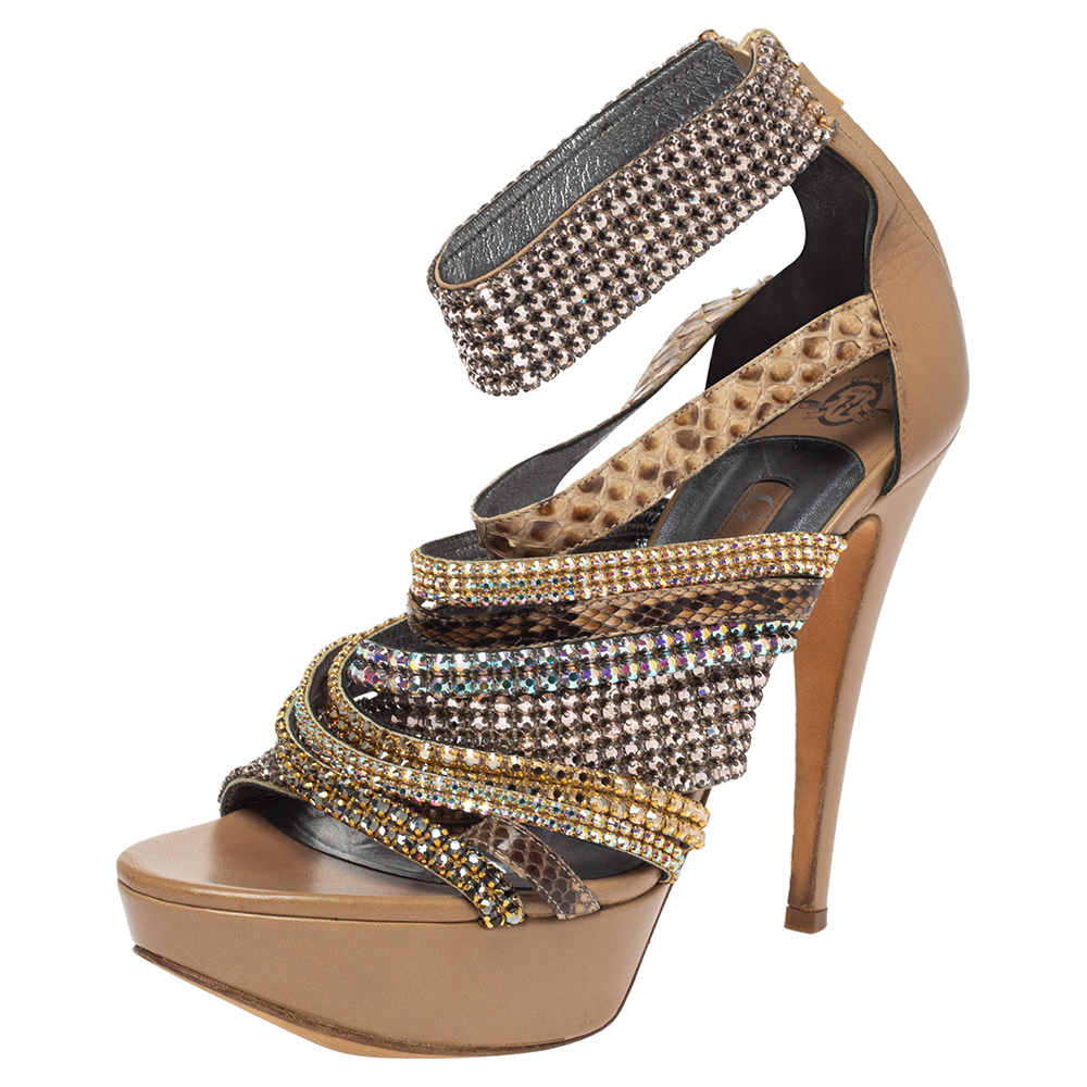 Pre-owned Gina Beige Leather And Python Trim Embellished Strappy Sandals Size 40