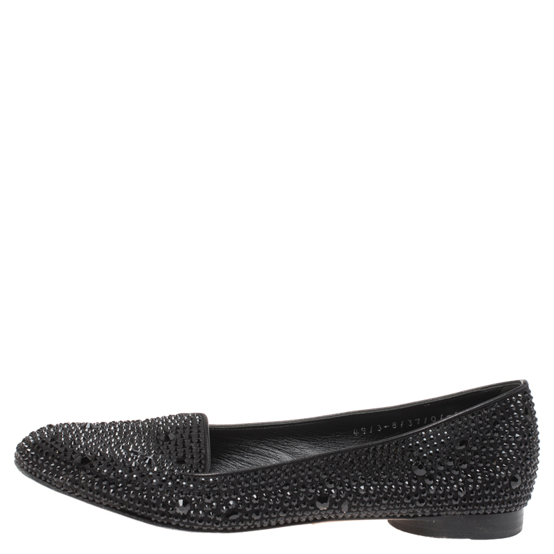 Gina Black Crystal Embellished Satin Ballet Flats Size 37.5  - buy with discount