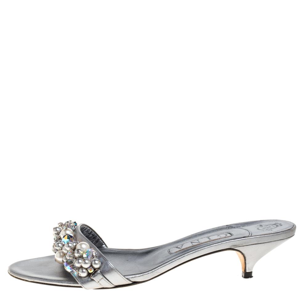 Gina Metallic Silver Leather  Embellished Slide Sandals Size 39.5