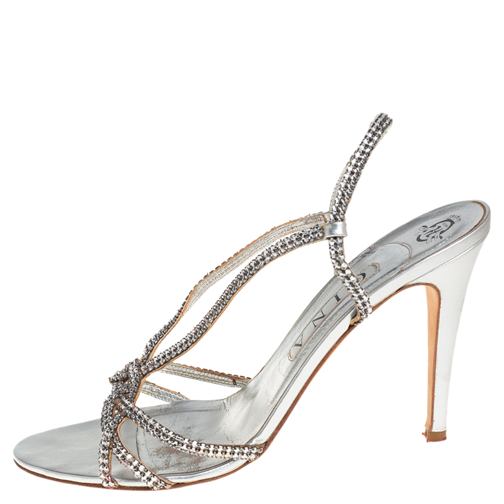 Gina Metallic Silver Leather Crystal Embellished Slingback Sandals Size 41  - buy with discount