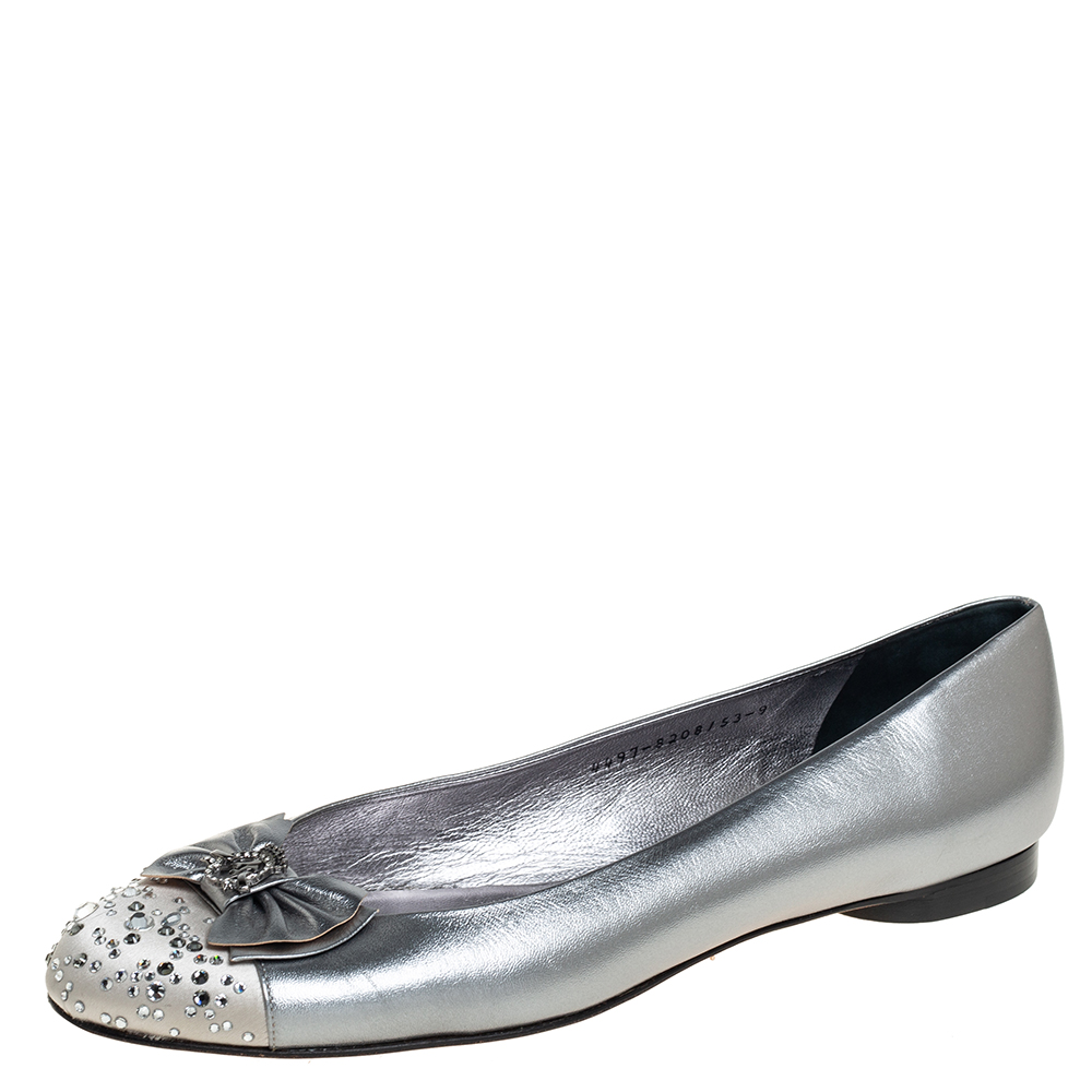 Pre-owned Gina Metallic Silver Leather And Satin Crystal Embellished Cap Toe Bow Ballet Flats Size 42