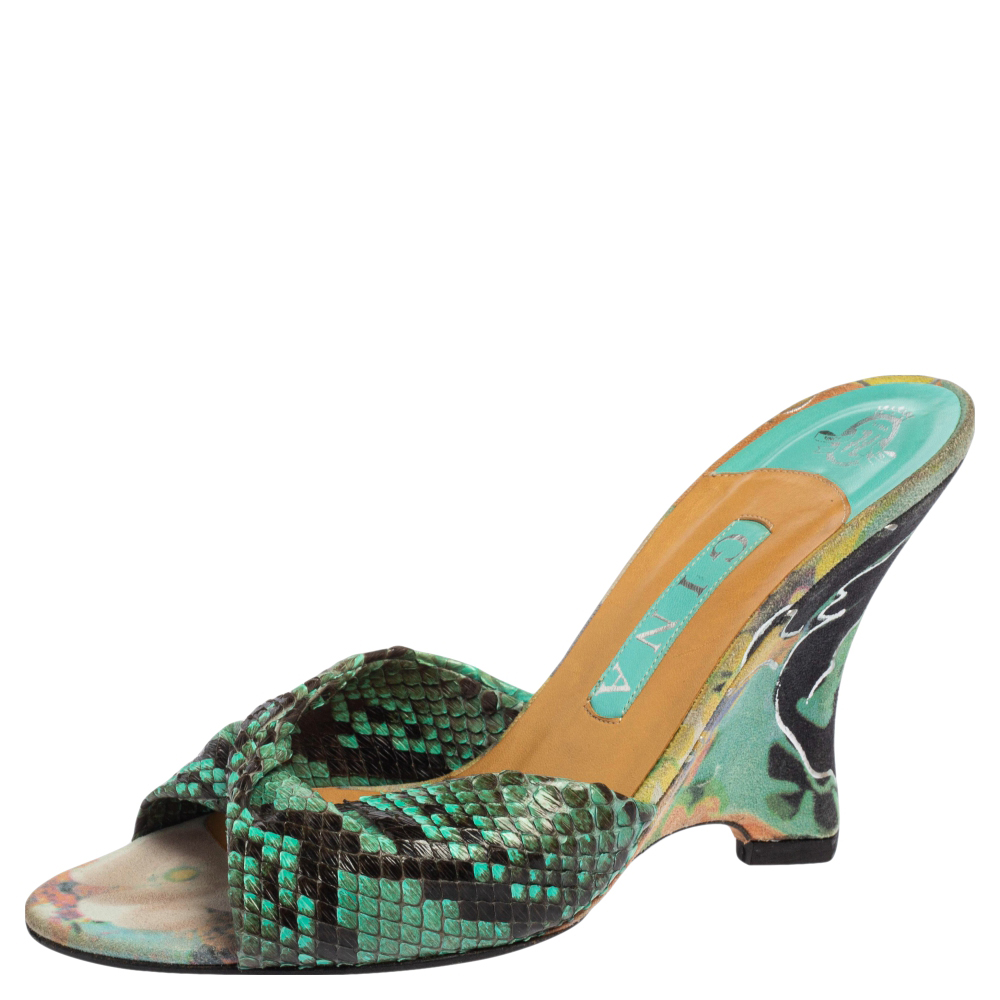 Pre-owned Gina Black/blue Python And Suede Slide Wedge Sandals Size 38.5