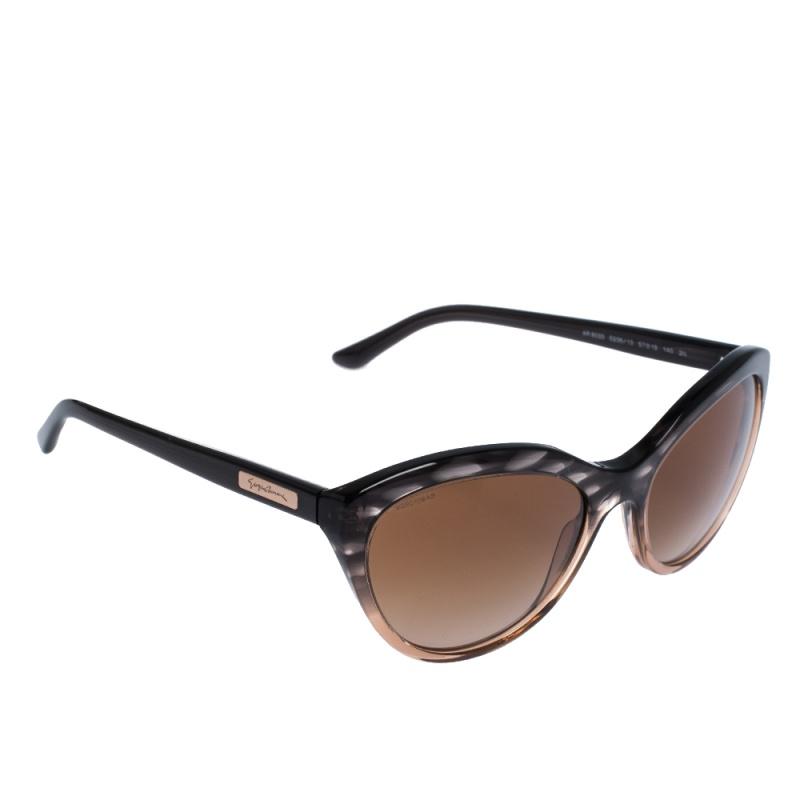 Giorgio Armani Black/Brown Gradient AR 8033 Oval Sunglasses