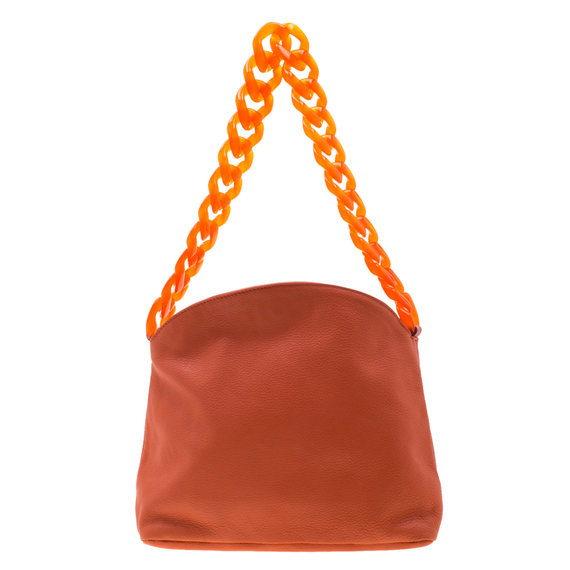 af362e0434 Giorgio Armani Orange Leather and Acrylic Chain Shoulder Bag