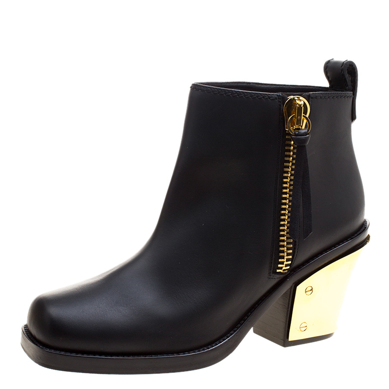 8dc0ab9d6893a Buy Giuseppe Zanotti Black Leather Gold Block Heel Ankle Boots Size ...