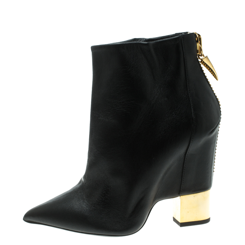 Giuseppe Zanotti Black Leather Shark Tooth Pointed Toe Block Heel Ankle Boots Size 38