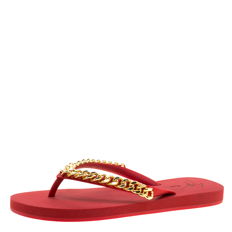 5e616f734927e7 Buy Giuseppe Zanotti Red Rubber Chain Detail Flip Flops Size 39 ...