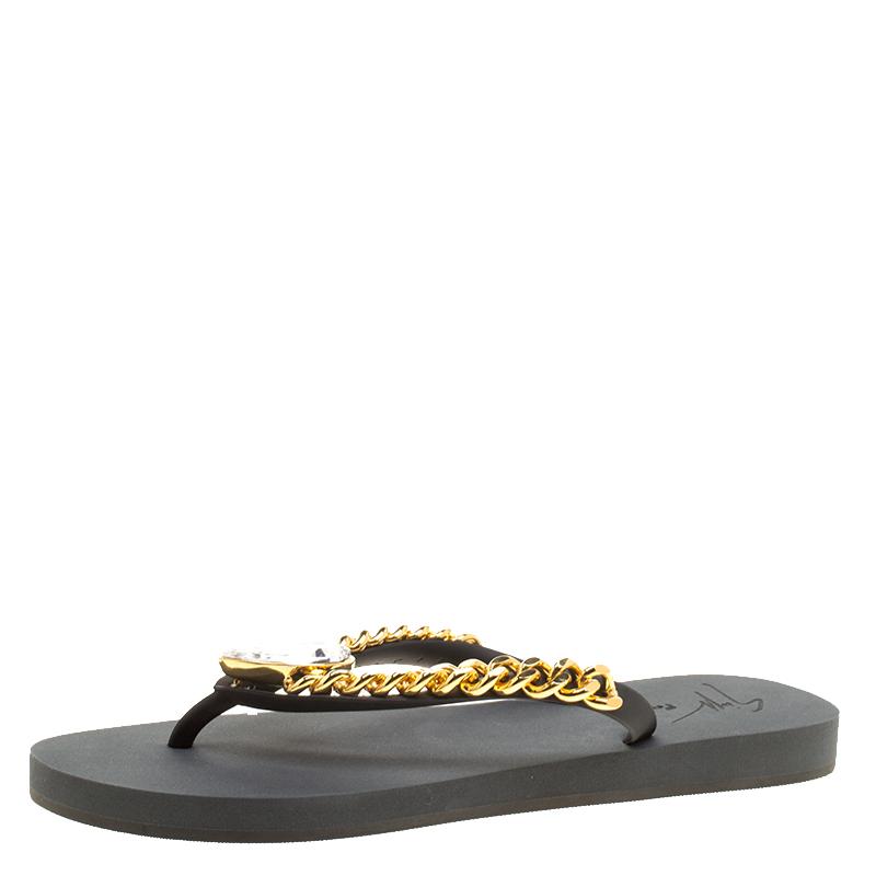 93d8aa1a5269a Buy Giuseppe Zanotti Black Rubber Miami Beach Flip Flops Size 39 133308 at  best price
