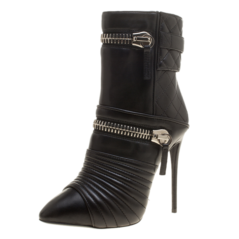 e3cb6099367c6 ... Giuseppe Zanotti Black Quilted Leather Double Zip Accent Boots Size 35.  nextprev. prevnext
