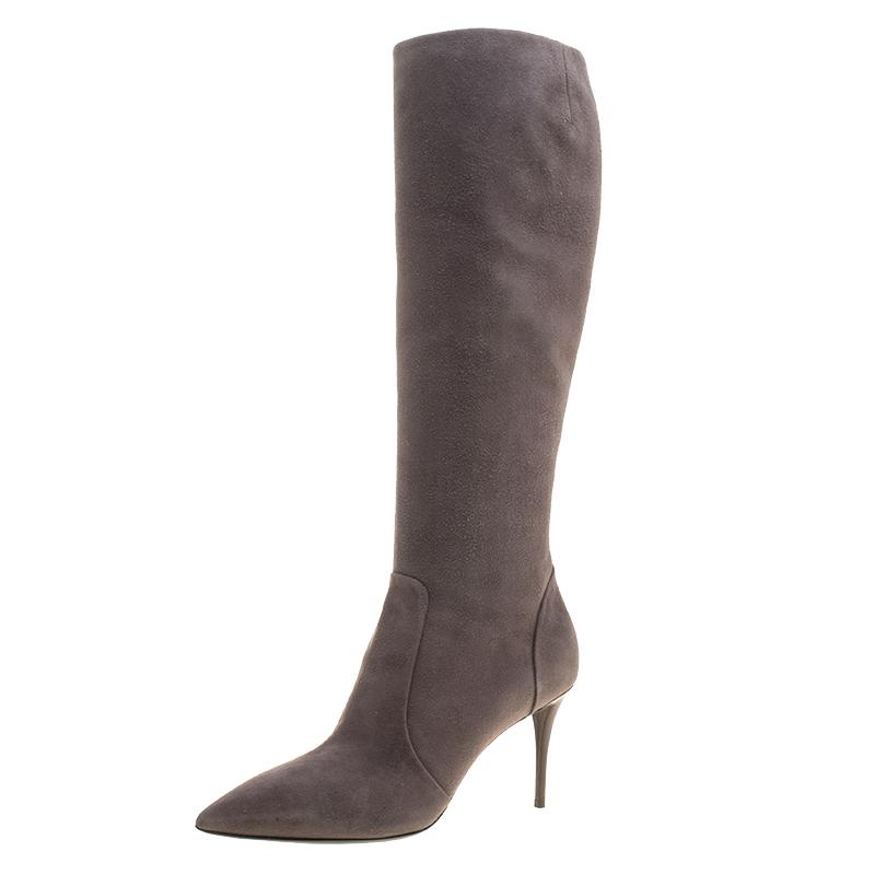 3ad9e1d93b7 ... Giuseppe Zanotti Beige Suede Pointed Toe Knee Boots Size 38.5.  nextprev. prevnext