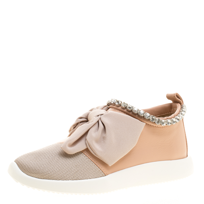 Buy Giuseppe Zanotti Blush Pink Leather and Mesh Panel Bow Crystal ... 55ad1ab558d8