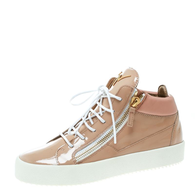 54341acfad Buy Giuseppe Zanotti Blush Pink Patent Leather London High Top ...