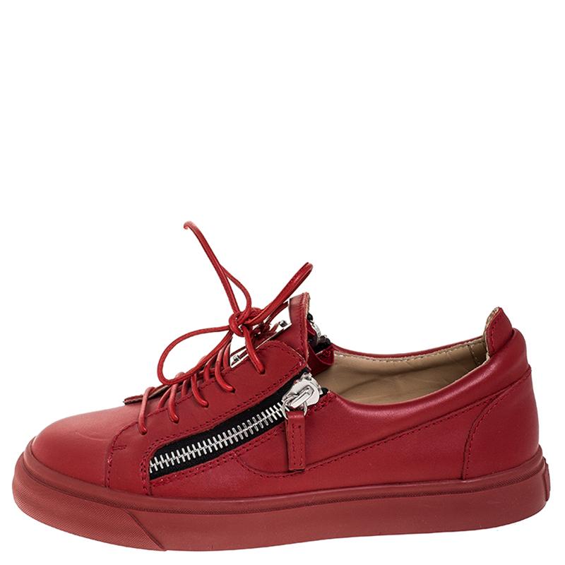 Giuseppe Zanotti En Cuir Rouge Double Zip Low Top Sneakers Taille 38.5