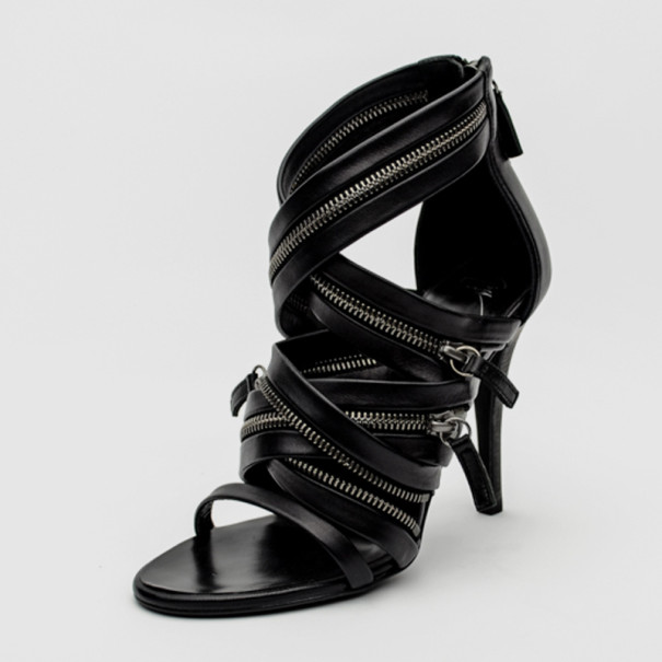 15535f94e23 Buy Giuseppe Zanotti For Pierre Balmain Black Leather Zip-Embellished  Sandals Size 36 33875 at best price   TLC