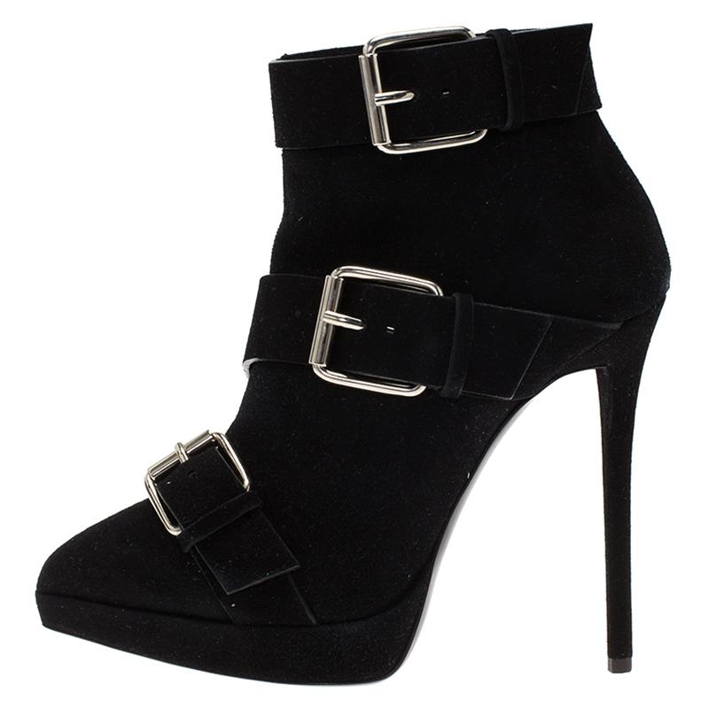 Купить со скидкой Giuseppe Zanotti Black Buckled Suede Platform Ankle Boots Size 38