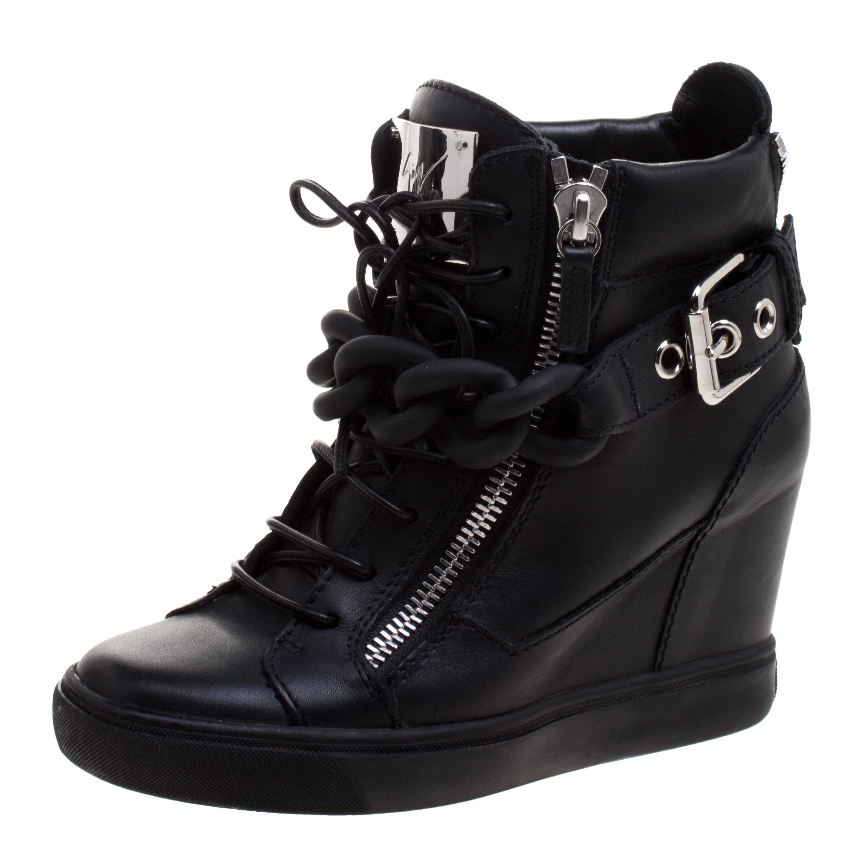 4bb38cfb6e3 Buy Giuseppe Zanotti Black Leather Lorenz Birel Wedge Sneakers Size ...