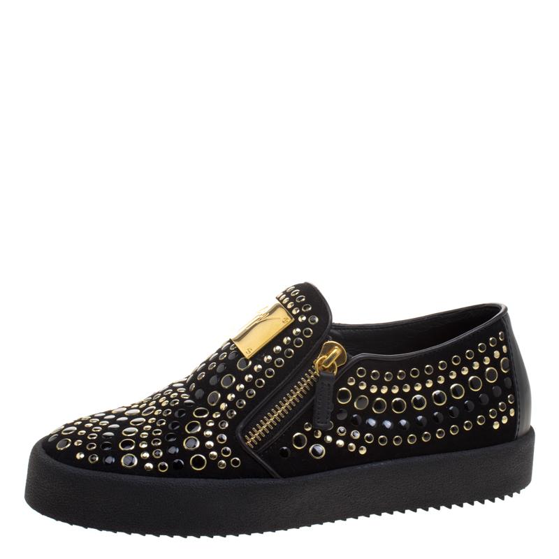fce8957e25120 ... Giuseppe Zanotti Black Stud Embellished Suede Eve Slip On Sneakers Size  40. nextprev. prevnext