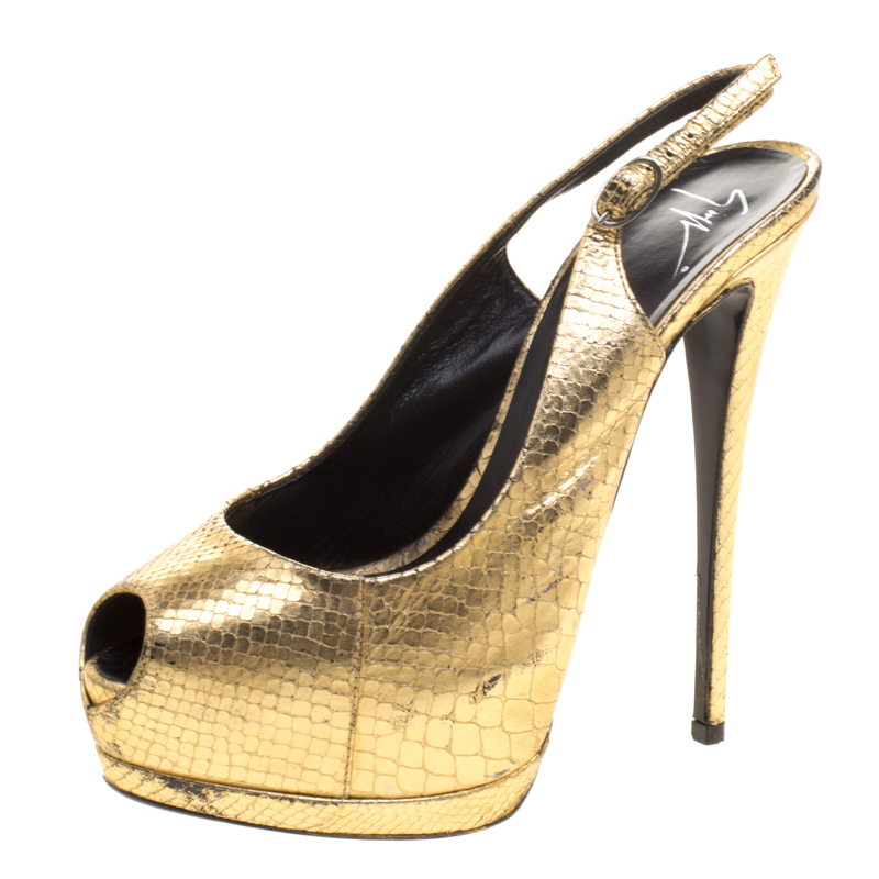 926c27b7517 Buy Giuseppe Zanotti Metallic Gold Python Embossed Leather Peep Toe ...