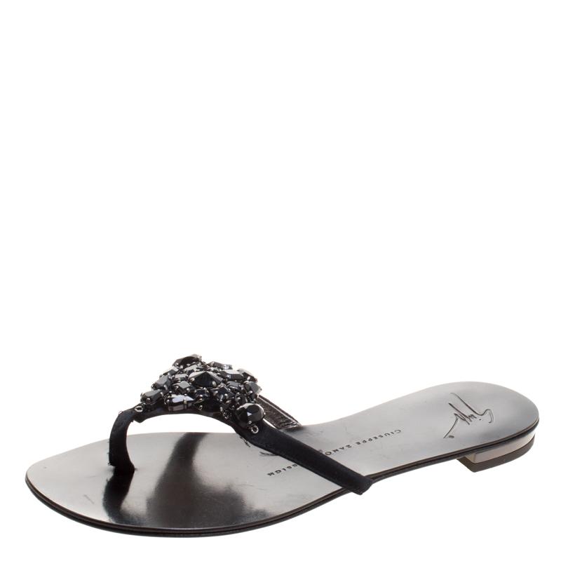 3fb760c75f032 ... Giuseppe Zanotti Black Crystal Embellished Flat Sandals Size 37.5.  nextprev. prevnext