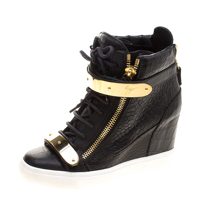 c4a2a40890fa5 Buy Giuseppe Zanotti Black Croc Embossed Leather Lorenz Wedge ...