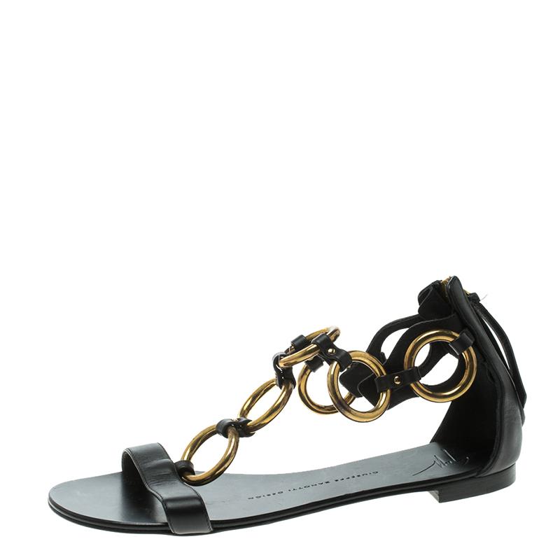 339d16963520 ... Leather Gold Ring T Strap Flat Sandals Size 37. nextprev. prevnext