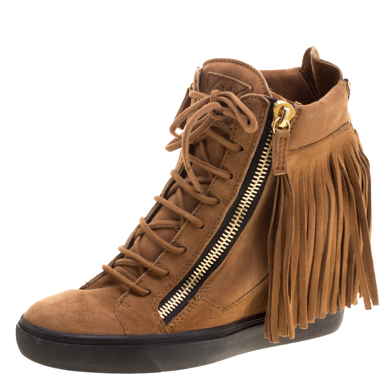 buy giuseppe zanotti brown suede lorenze fringe wedge sneakers size rh theluxurycloset com