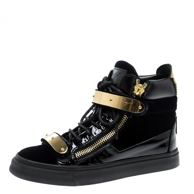 amazing quality sale retailer top-rated newest Giuseppe Zanotti Navy Blue/Black Velvet and Leather Coby High Top Sneakers  Size 36