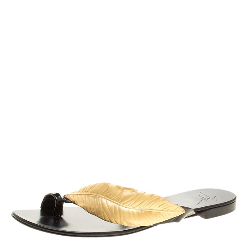 7886a85807994 Buy Giuseppe Zanotti Black Patent Leather Gold Leaf Accent Flat ...