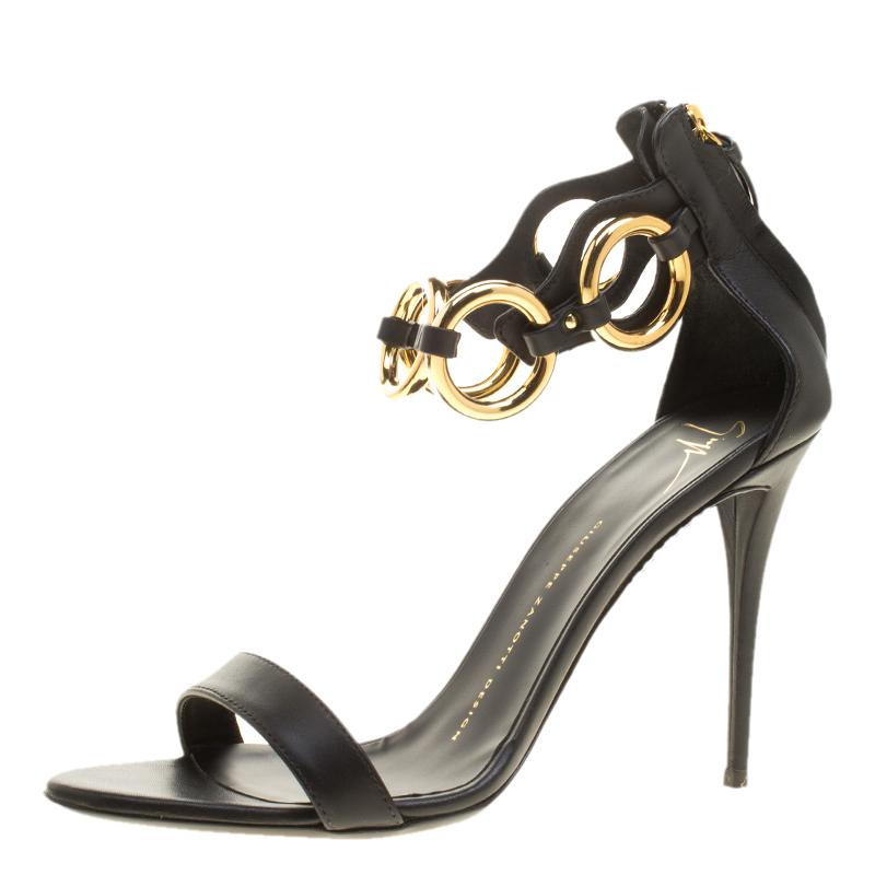 940fccf532e74 Buy Giuseppe Zanotti Black Leather Ring Detail Open Toe Sandals Size ...