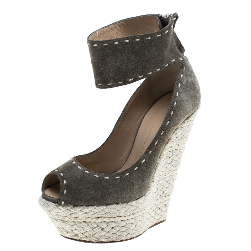 af0351229830 ... Giuseppe Zanotti Olive Green Suede Espadrille Wedge Sandals Size 38.  nextprev. prevnext