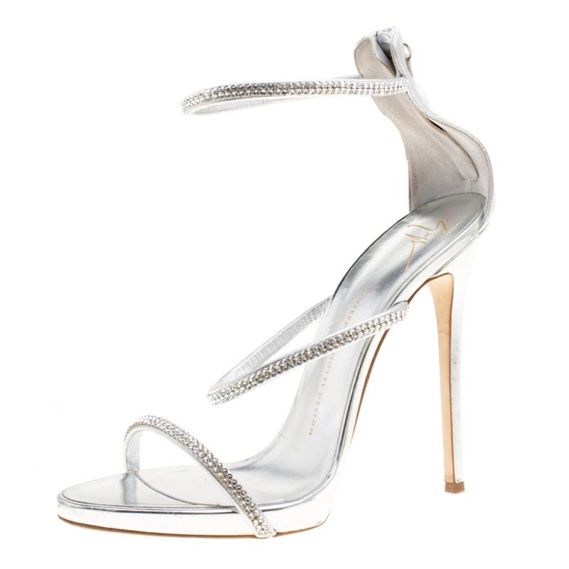 ea5d4c221884 ... Giuseppe Zanotti Metallic Silver Leather Crystal Embellished Harmony  Ankle Strap Sandals Size 41. nextprev. prevnext