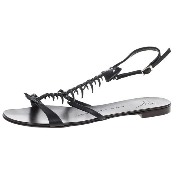 cbc5c25aa4c31 Buy Giuseppe Zanotti Black Fishbone Flat Sandals Size 38.5 15470 at best  price | TLC