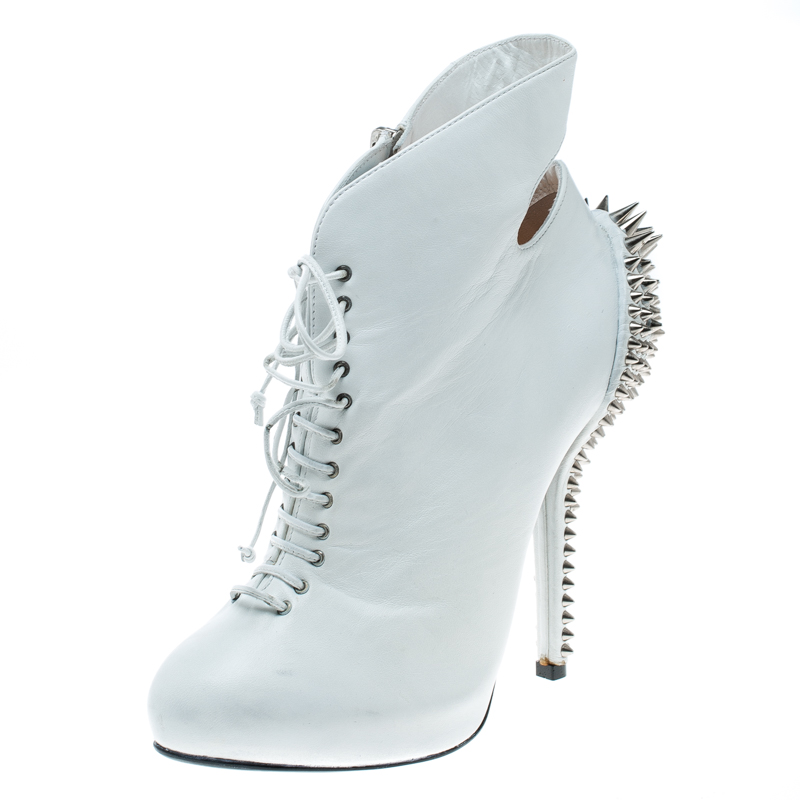 770ee5ab8d ... Giuseppe Zanotti White Leather Spike Embellished Heel Cut Out Ankle  Boots Size 37.5. nextprev. prevnext