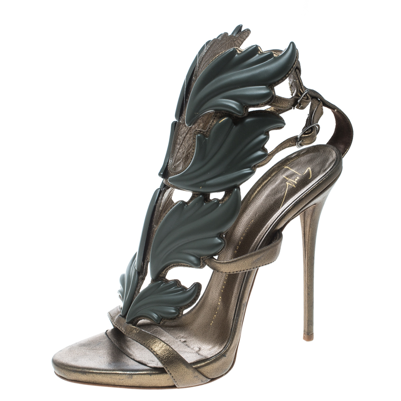 0db76ea1489cb ... Giuseppe Zanotti Olive Green Leather Argent Metal Wing Embellished  Strappy Sandals Size 37. nextprev. prevnext