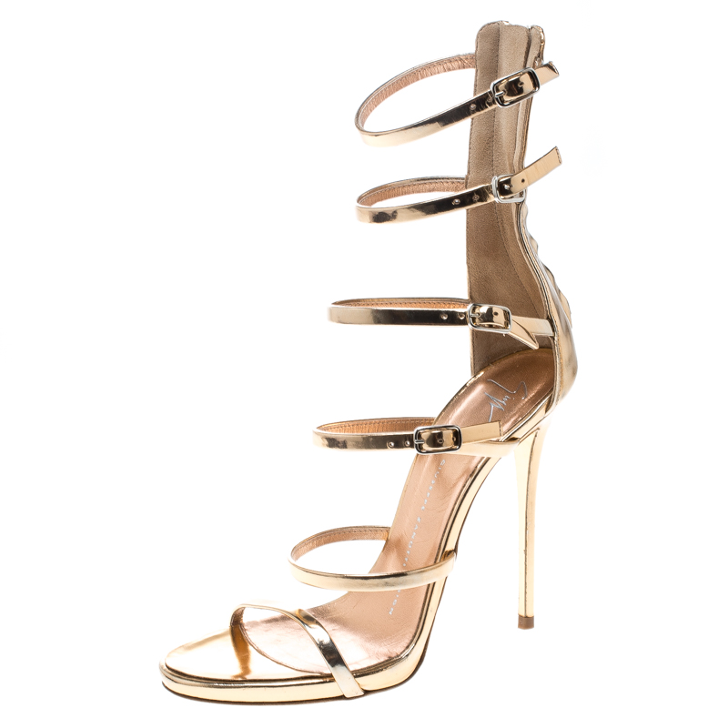 4807c579bb14 Buy Giuseppe Zanotti Metallic Rose Gold Leather Gladiator Sandals ...