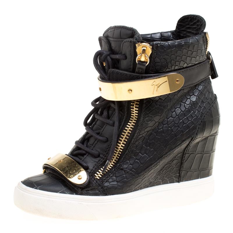 fc7aebfd4ed Buy Giuseppe Zanotti Black Croc Embossed Leather Lorenz Wedge ...