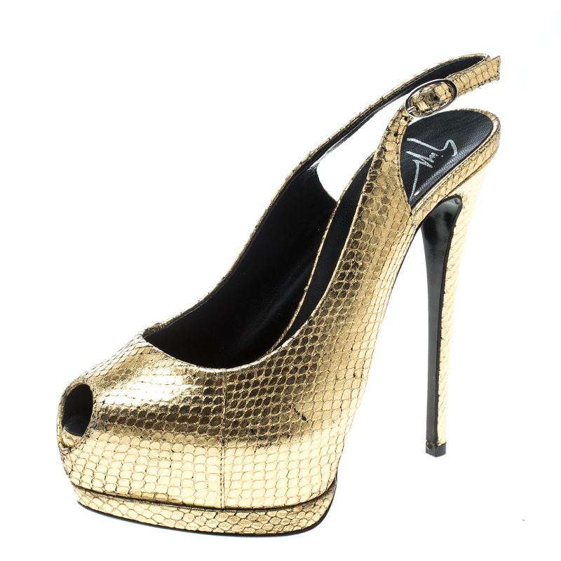 Giuseppe Zanotti Metallic Gold Python Embossed Leather Peep Toe Platform Slingback Sandals Size 36.5