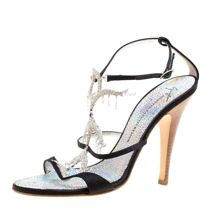 f9b86c295d5 ... Giuseppe Zanotti Black Satin Crystal Embellished Strappy Sandals Size  38.5. nextprev. prevnext