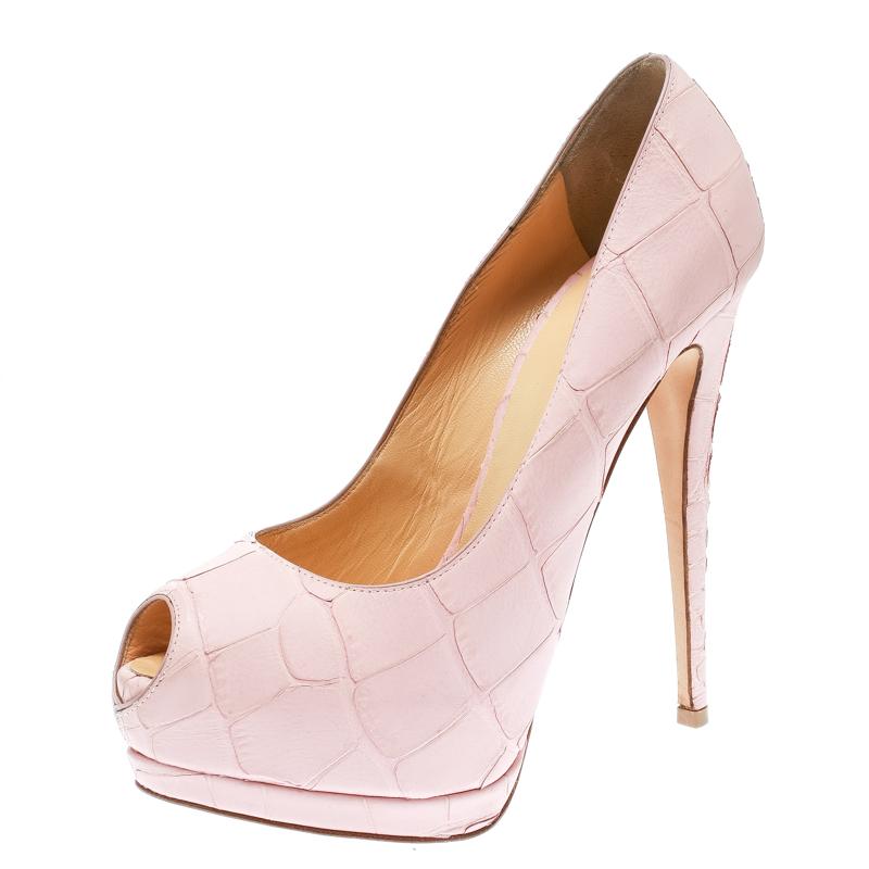 d4d56d1e764 Giuseppe Zanotti Blush Pink Croc Embossed Leather Peep Toe Platform Pumps  Size 38.5