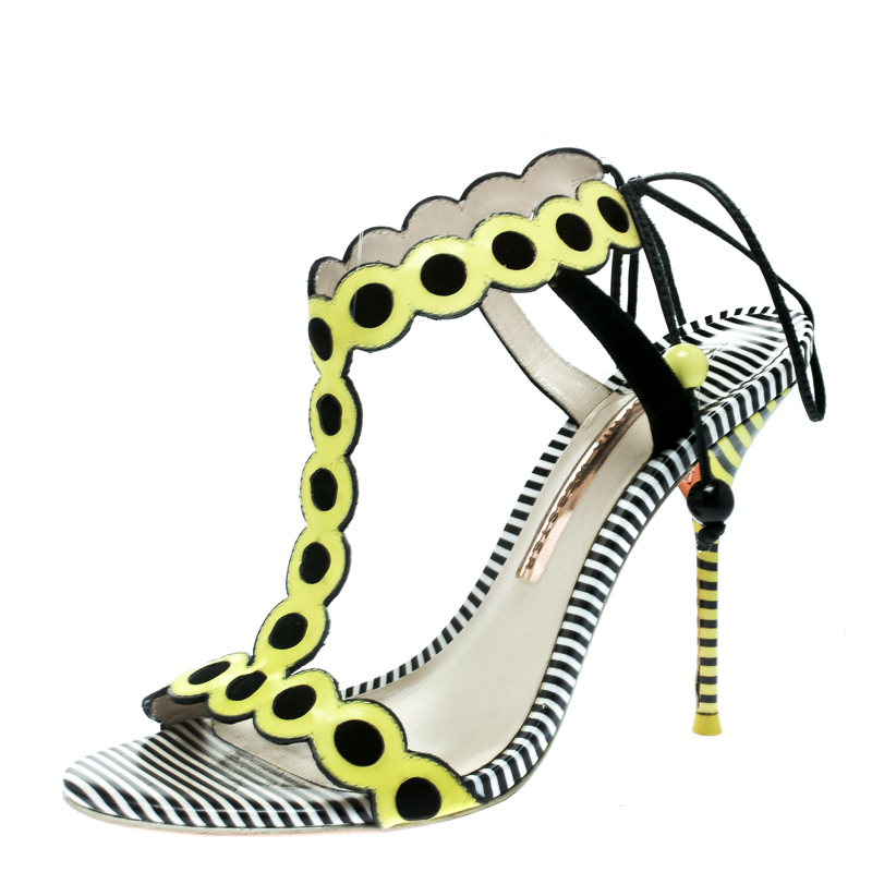 9868d22ecb5b ... Yellow Black Leather and Suede Yaya T Strap Sandals Size 37.5.  nextprev. prevnext
