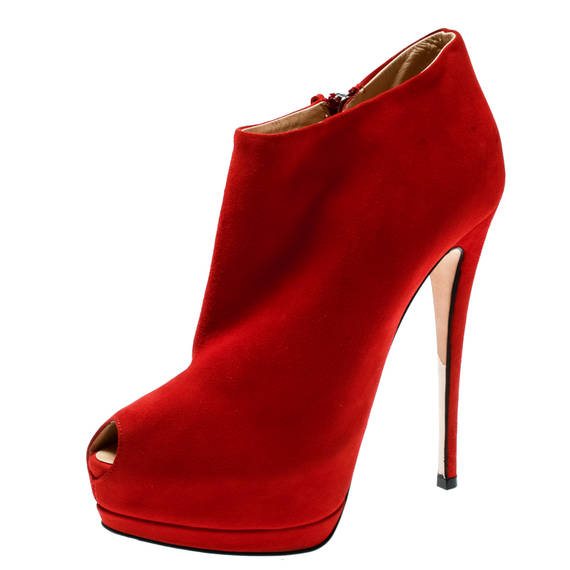 Giuseppe Zanotti Red Suede Ankle Length Peep Toe Platform Booties Size 38.5